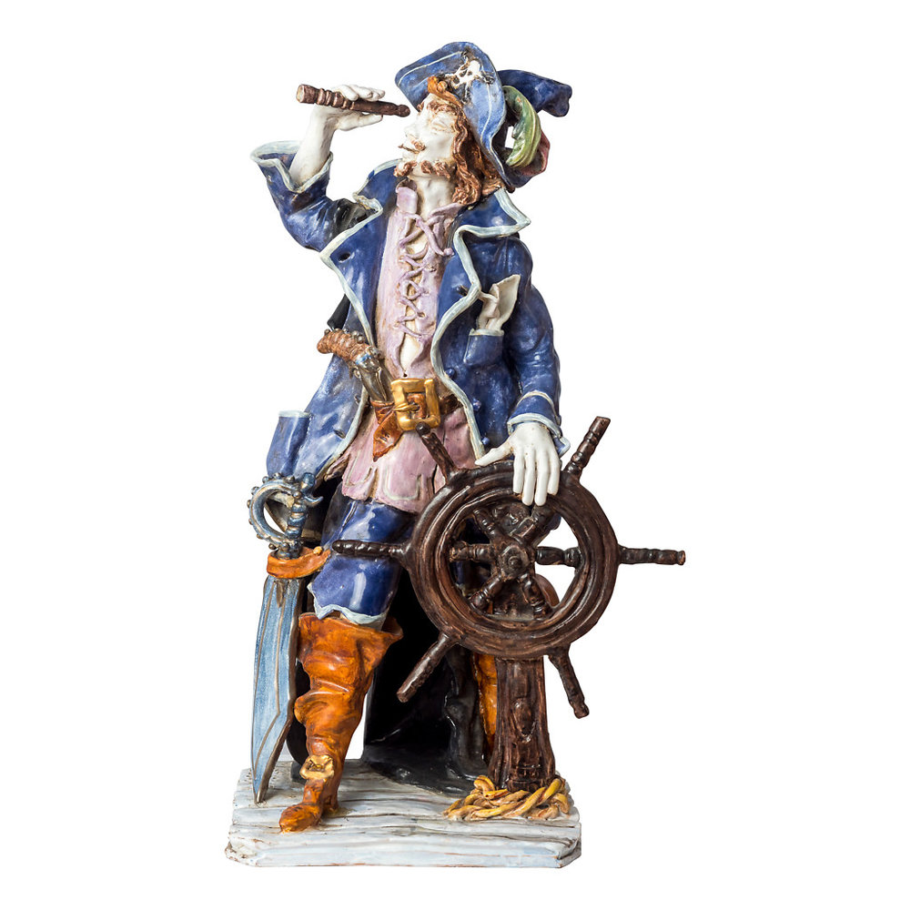 NR. 57, PERSEO, HANDPAINTED TERRACOTTA STATUE: THE PIRATE COLLECTION, 23x52cm, TUSCANY, 70's