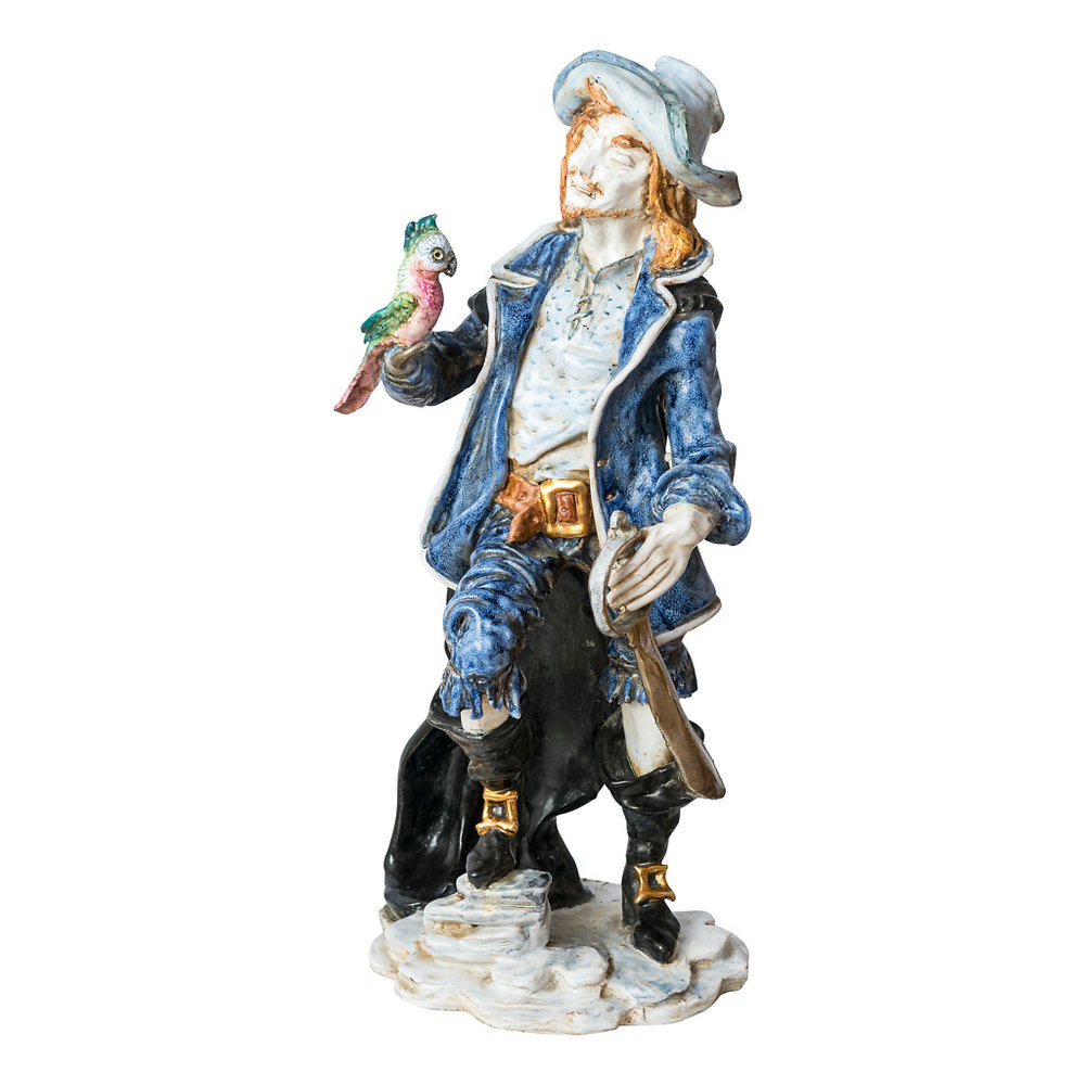 NR. 60, PERSEO,  HANDPAINTED TERRACOTTA STATUE: THE PIRATE COLLECTION, 24x51cm, TUSCANY, 70's