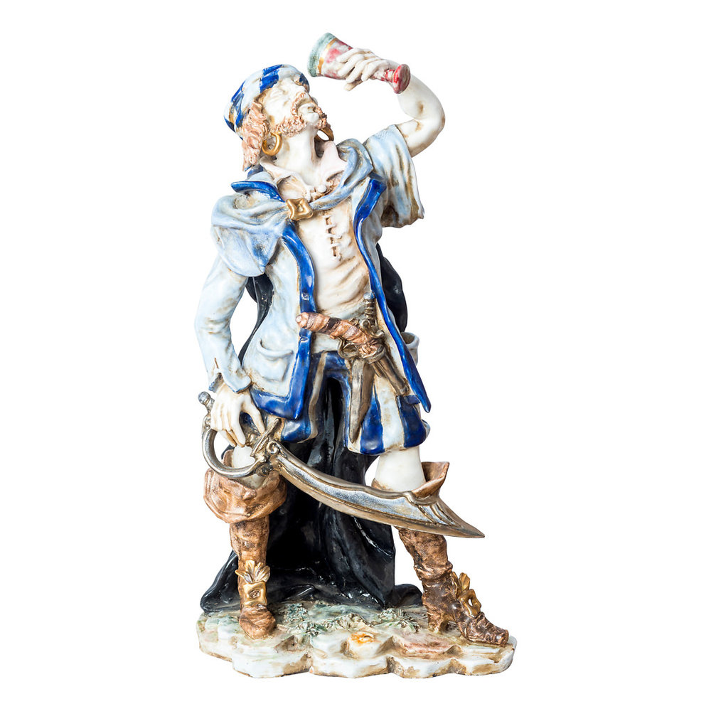 NR. 62, PERSEO, HANDPAINTED TERRACOTTA STATUE: THE PIRATE COLLECTION, 20x53cm, TUSCANY, 70's