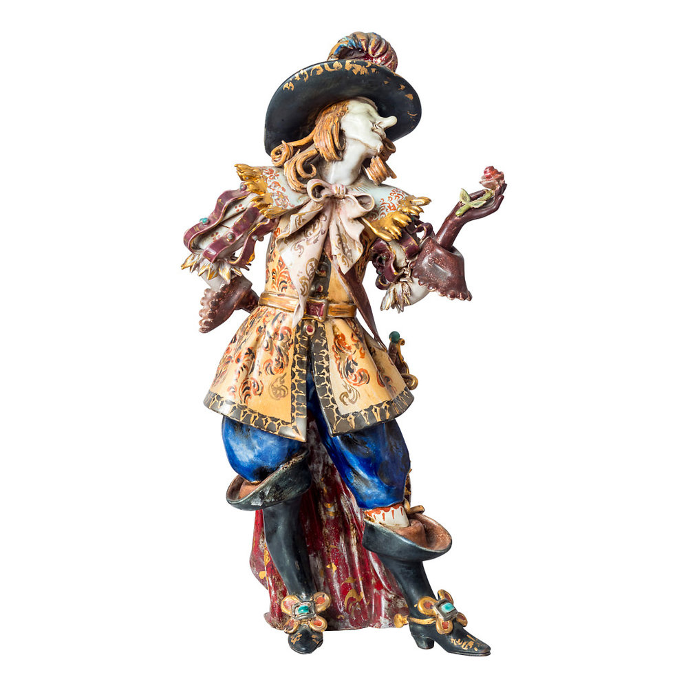 NR. 63, PERSEO, HANDPAINTED TERRACOTTA STATUE: CYRANO DE BERGERAC, 14x40cm, TUSCANY, 70's