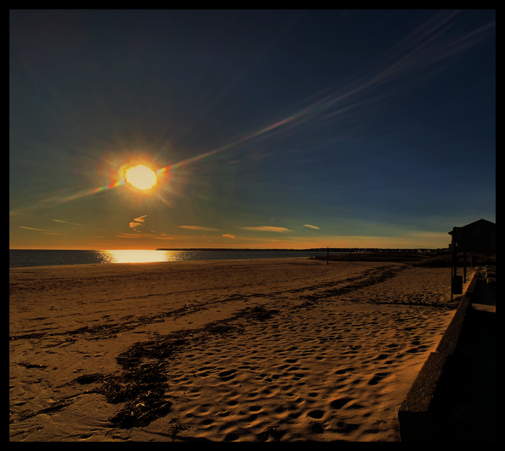 January 22, 2019 - Sunset over Craigville Beach, Cape Cod, Massachusetts.