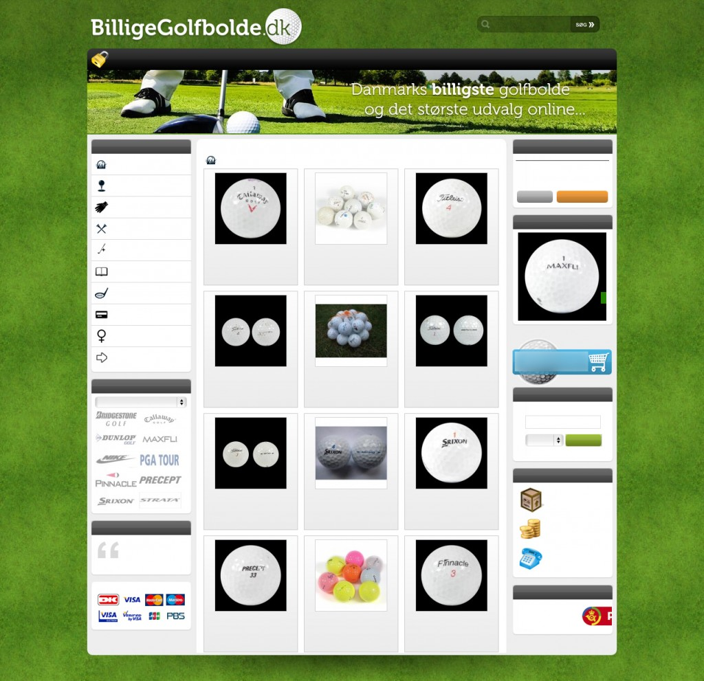 BilligeGolfbolde.dk's kategoriside