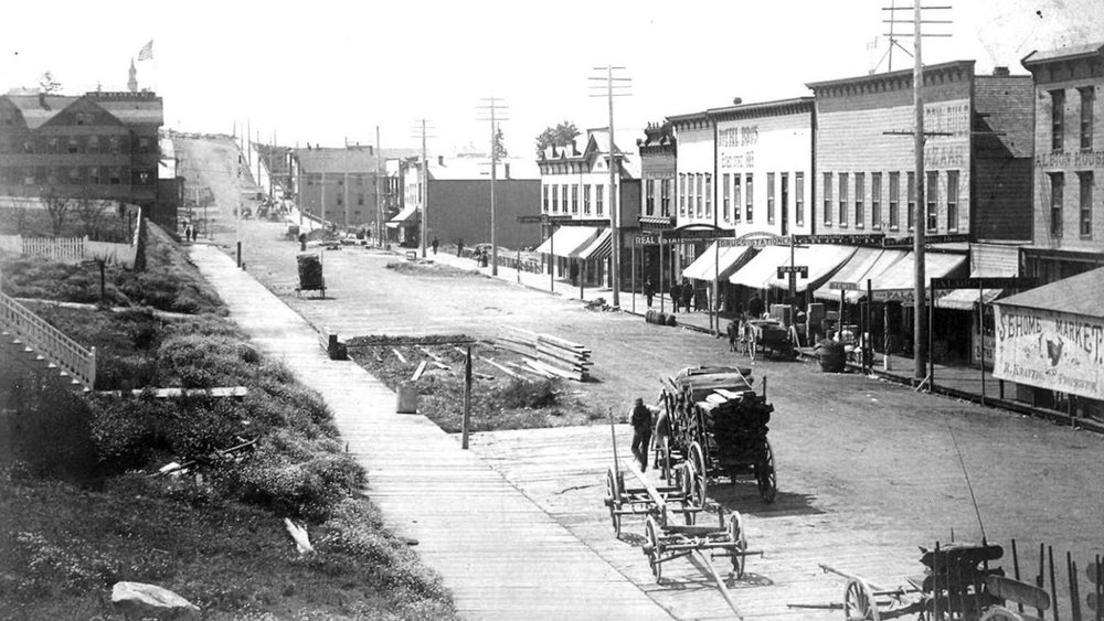 View looking southwest down Elk Street (today's State Street) from the 1890s.
