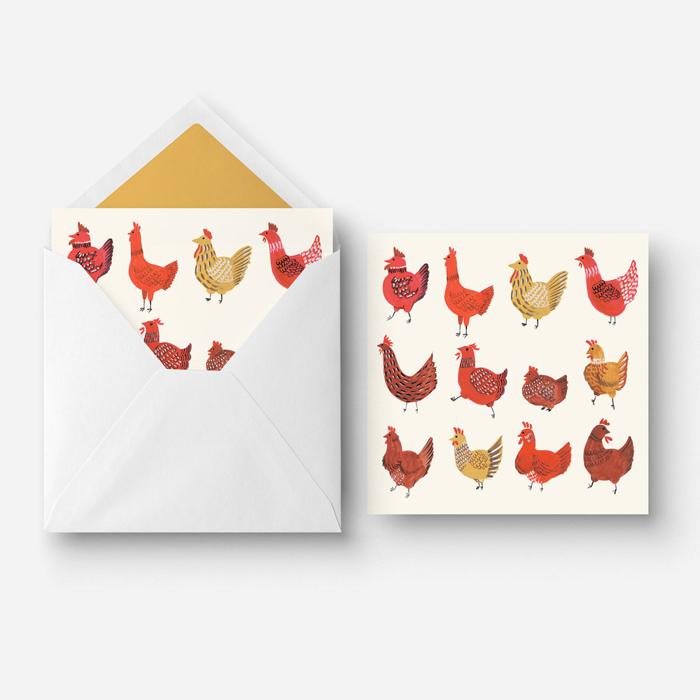 Greeting Card - Watercolour chickens