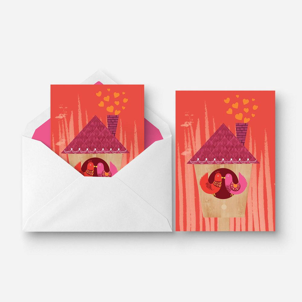 Greeting Card - Valentines - Bird House