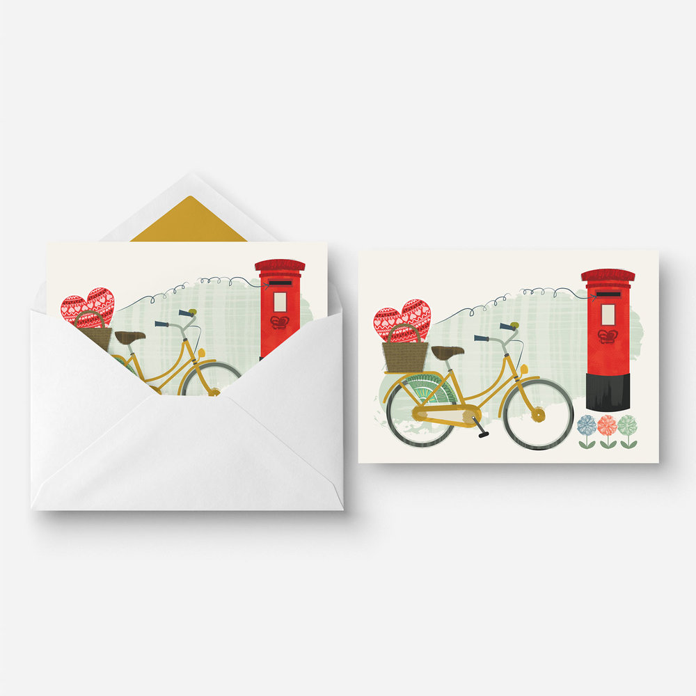 Greeting Card - Valentines - Bicycle