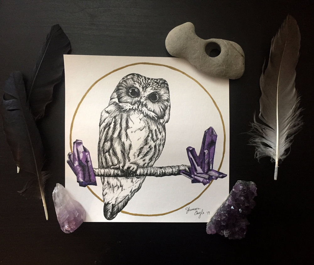 Owl & Amethyst Original Drawing