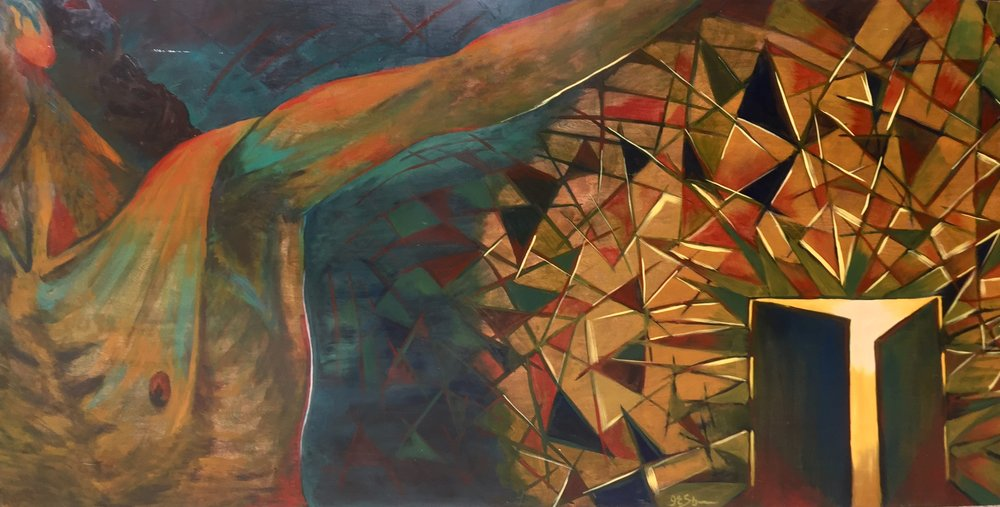 """Ascend  , Oil on panel (48"""" x 96"""")"""
