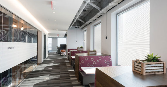 Shown here is the Capital One office in Tysons, VA. Booth seating at this Capital One location provides a comfortable breakout space for small meetings or brainstorming. (Photos: Adam Auel Photography, courtesy of Capital One)