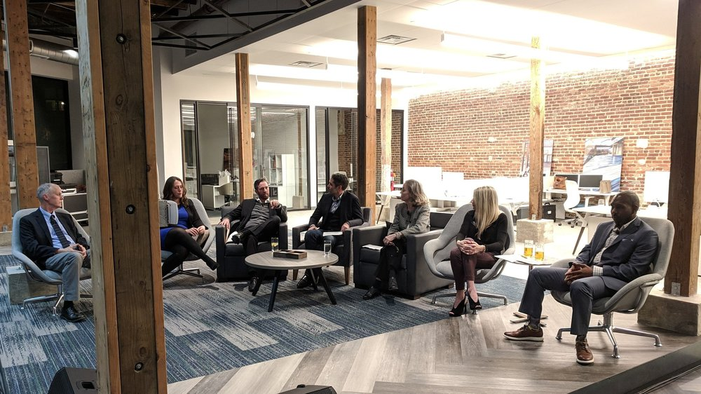Pictured from left to right: George Smith, Katie Trice, Matt Hayner, Mark Allen, Kris Kirchner, Shelly Attila, and Jessie Frasier at Mannington Commercial's showroom.