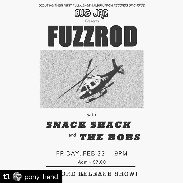 The Fuzzrod record release show is TOMORROW at Bug Jar! ⚡️⚡️ LPs, tapes, and CDs are up for pre-order @recordsofchoice and @dadstacherecords. . . @bugjarrochester @bugjarshows @fuzzrod #homestonedsuperrockers
