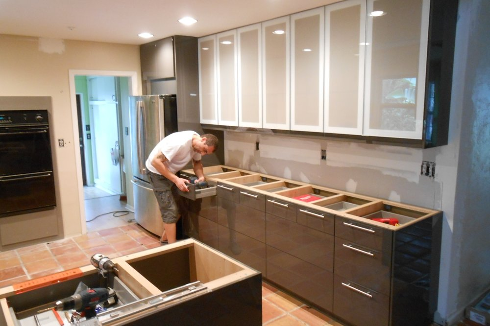 7. Installation - The installation process will take 1-2 weeks. This will include removal of the old kitchen or bathroom, works from licensed electricians to plumbers, and of course the installation of your newly renovated cabinets and finishes.