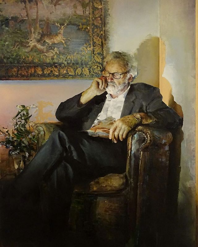 The hard angles and vertical lines of 'Doctor in Repose' appear as a dramatic counterargument against the sense of abandon found within the meandering qualities of 'Stockholm Suburbs'.   The depiction of this apparently erudite figure, whose constitution is reminiscent of turn of the century portraiture, seems to pay homage to the more austere components of Jugendstil design. Here too are echoes of Egon Schiele's early paintings, particularly 'Portrait of the painter Anton Peschka'.   Yet, interrupting the scene's atmosphere of rational composure - evoked through cool blue tones - are brief moments of erratic departure. The yellows and golds of the shadows violently pierce the blues, adding a sense of disquiet and foreboding. Taking influence from German expressionist cinema, with its use of strong shadows, Switzer seems to be hinting at the concept of the 'Jungian shadow', which, like Freud's 'id', is the primitive, irrational facet of the self that remains suppressed to the 'unconscious' in civilised adulthood.   #doctorinrepose #grünewald #oiloncanvas
