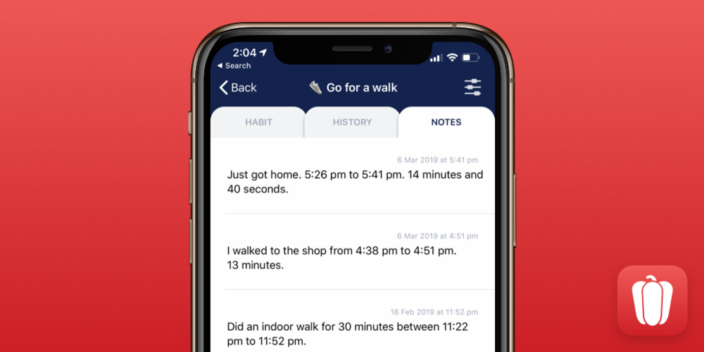 New Notes Tab in Habit Tracking