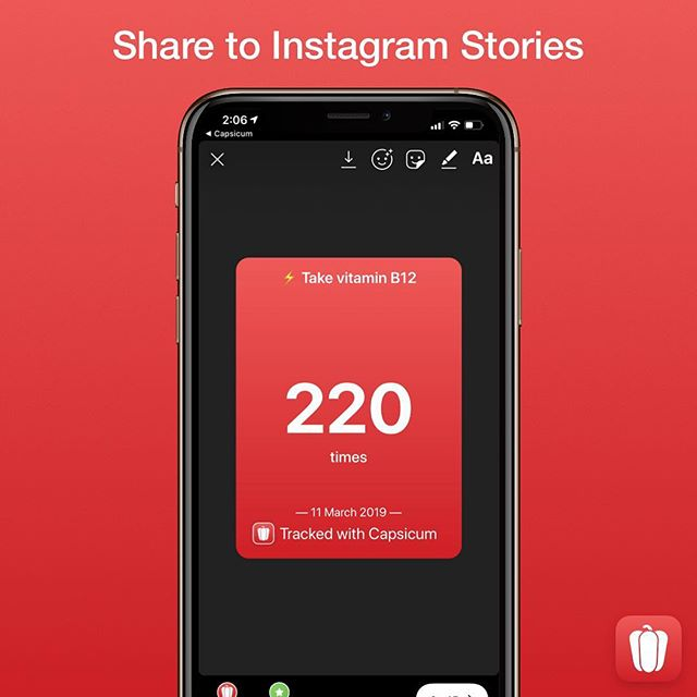 New in version 1.1.1 of Capsicum is sharing your habit progress to Instagram Stories. Share the total times you've done a habit, your current or longest streak, or your current or longest break of that habit. — Streaks are great for habits you want to keep like flossing or taking vitamins, and breaks are great for a negative habit like nail-biting. You can now also choose in a habit's settings if it's a positive or negative habit and the Share Card will automatically adjust to that. — To share to Instagram Stories, tap the share icon on a habit's detail screen and then configure what you want to share. You can add more text and filters and stickers in the Instagram Stories Composer if you choose. — We hope you have fun and enjoy this feature as much as we do. Sharing your progress can help you stay on track and remain motivated to keep your streak or break going. — #CapsicumApp #BreakingHabits #Habits #HabitProgress #HabitTracker #HabitTracking #iOSApp #MakingHabits