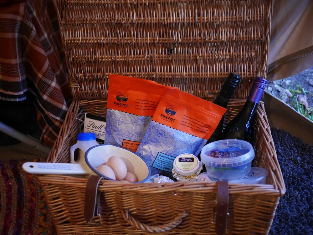Local produce camping hamper