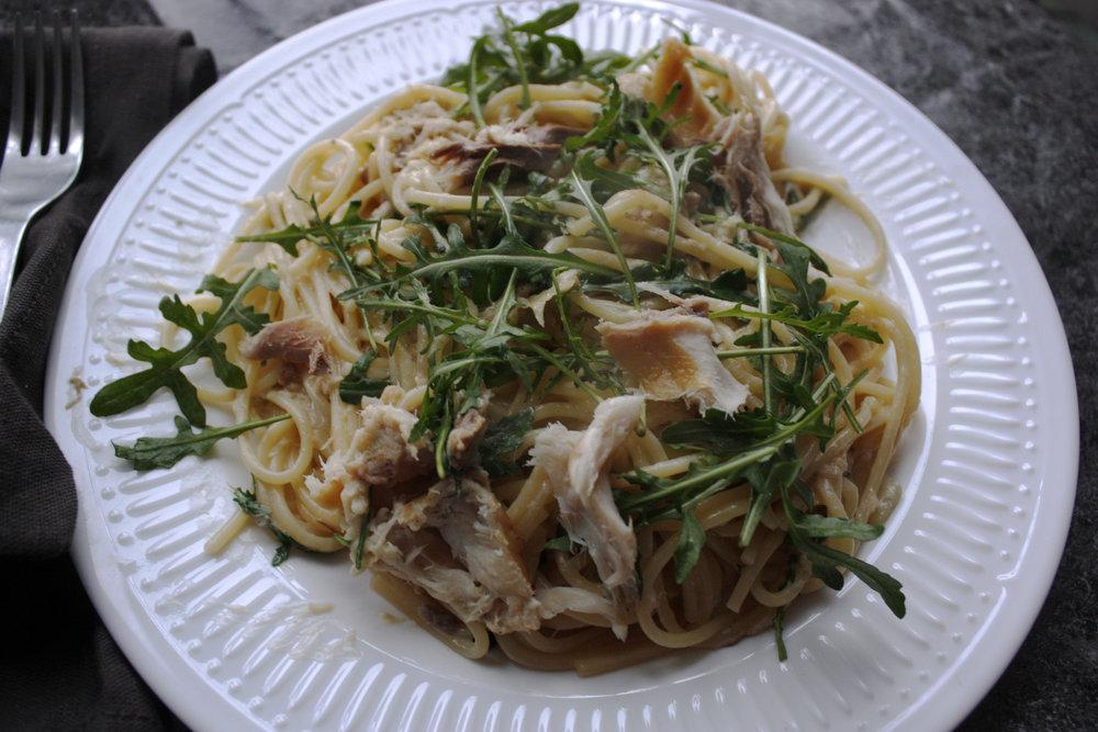 Smoked mackerel carbonara