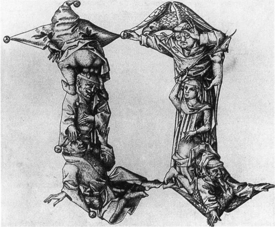 Letter N from the Fantastic Alphabet, 1465 engraving.