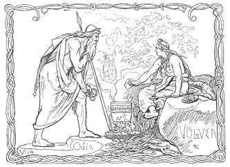 "Odin og Völven by Lorenz Frølich. [Public domain], via Wikimedia Commons. Odin holds bracelets and leans on his spear while looking towards the völva in Völuspá. Gesturing, the völva holds a spoon and sits beside a steaming kettle. The text ""V:14"" in the bottom left corner refers to Völuspá stanza 14."