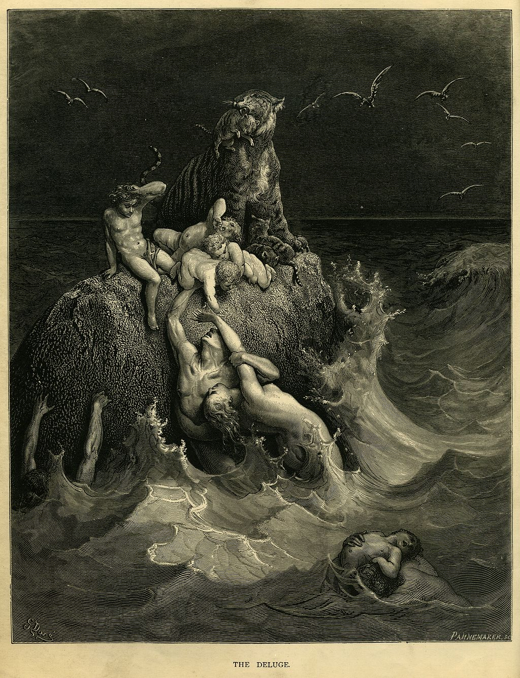 """The Deluge"", Frontispiece to Doré's illustrated edition of the Bible. Based on the story of Noah's Ark, this shows humans and a tiger doomed by the flood futilely attempting to save their children and cubs."