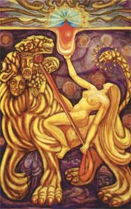 "Babalon as depicted in the card ""Lust"" in the Thoth Tarot deck."