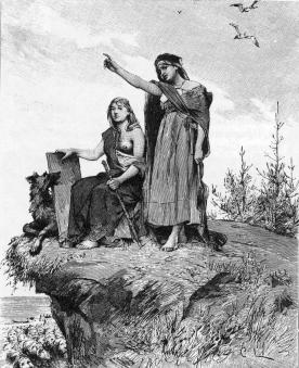 An engraving showing two völvas (seeresses). Originally from Fredrik Sander's 1893 edition of the poetic Edda.