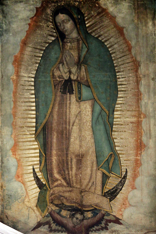 Original Picture of Our Lady of Guadalupe (also known as the Virgin of Guadalupe) shown in the Basilica of Our Lady of Guadalupe in México City. The Catholic Church considers the image of the Virgin of Guadalupe imprinted on the cloak of Juan Diego as a picture of supernatural origin.