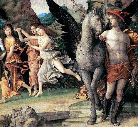 "Detail of Hermes with Pegasus. From ""Parnassus"" by Andrea Mantegna (1497)."