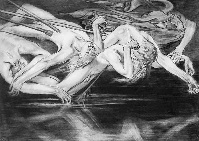 """""""Hermes wiedzie duchy bohaterów do głębin Hadesu"""", or """"Hermes leading the spirits of heroes to the depths of Hades"""". Stanisław Wyspiański, 1897."""
