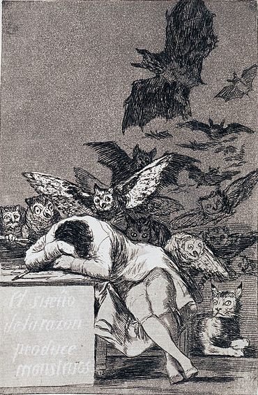 """The Dream of Reason Brings forth Monsters"" by Francisco de Goya"