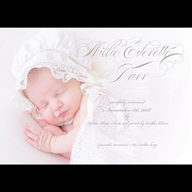 Sweet Millie!! I LOVED designing her birth announcement with @katiescott1987 - isn't she just beautiful!!?? I was so honored to shoot her big brother's newborn session a few years back, and ECSTATIC when their precious mama chose me to photograph this brand new baby girl too! SO many favorites from this session!! #SwetmanPhotography #oceanspringsnewbornphotographer #newbornbabygirl #heirloomlacenewbornblanket #newbornlacebonnet