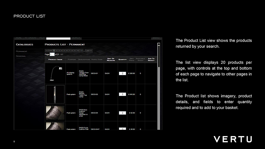 Vertu . POS tools ordering system . worldwide