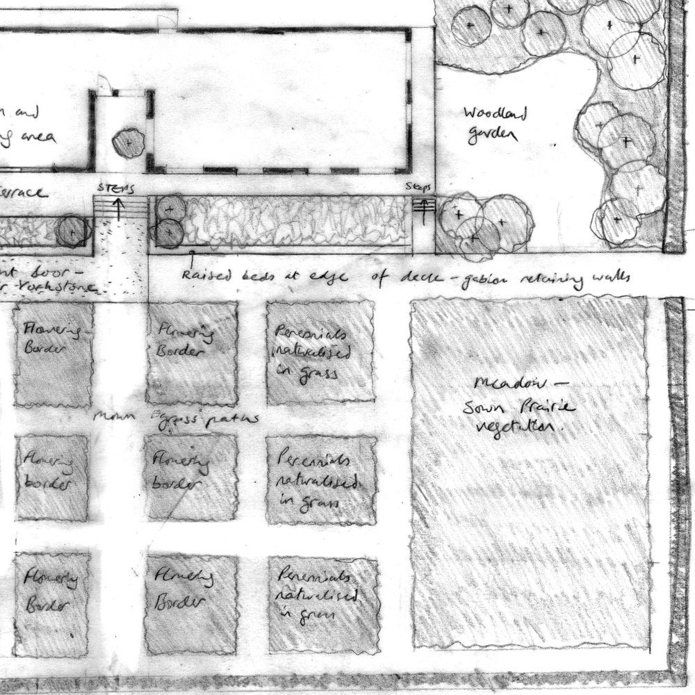 landscape design - I work with clients to realise their ideas for a place. Starting with a survey of the site, I translate the original idea into a sketch design, then detailed detailed design drawings and the tender package for pricing the work. Working with landscape contractors, I then manage the construction and planting to completion.
