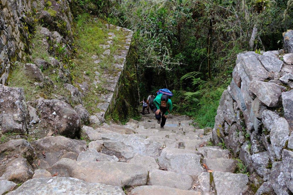 "Meera climbing the ""gringo killer"" steps"