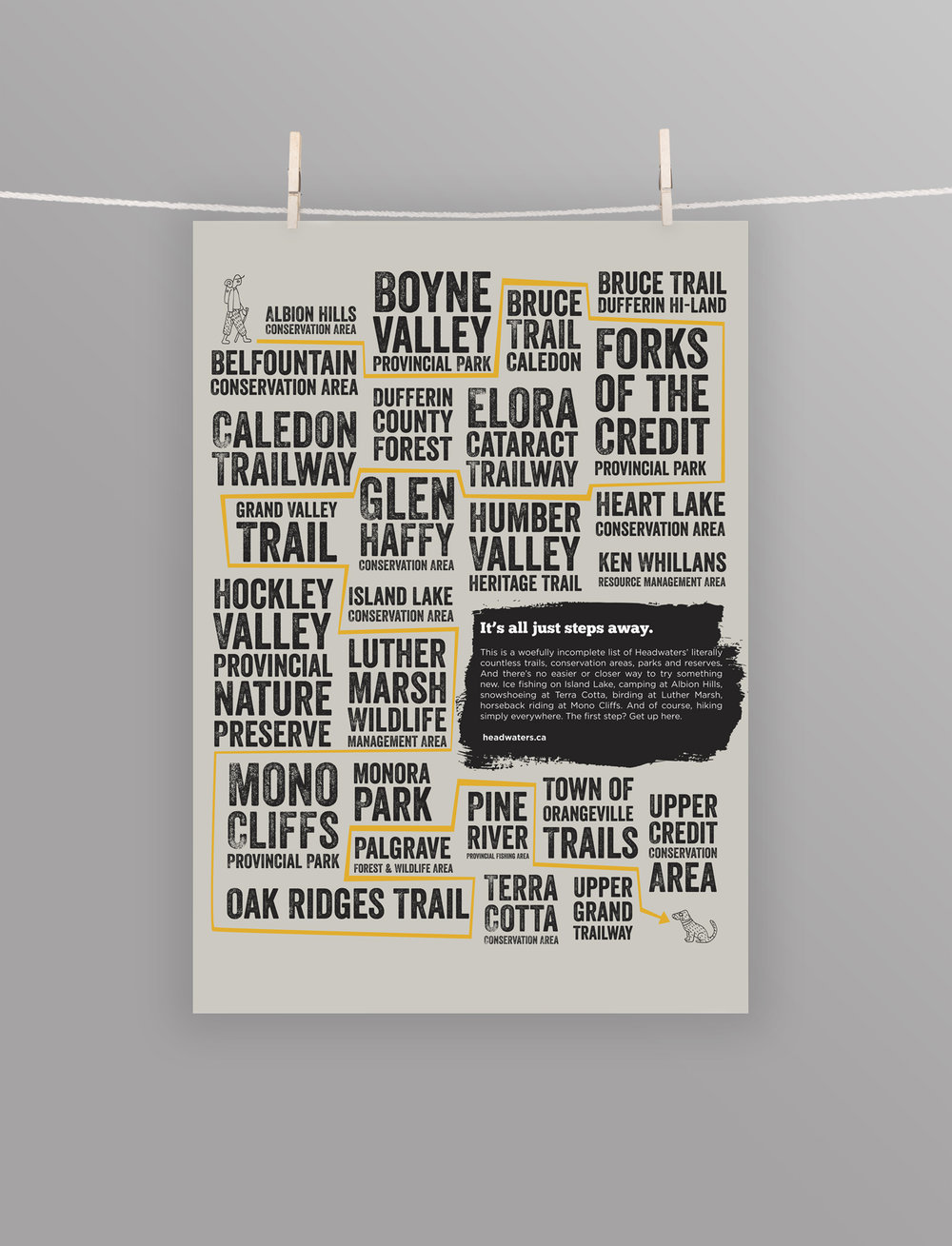 A typographic poster featuring the best sights to see in Headwaters. Including Forks of the Credit, Heart Lake Conversation Area, Hockley Vallery Provincial Nature Preserve, Monora Park and more! Great hiking spots.