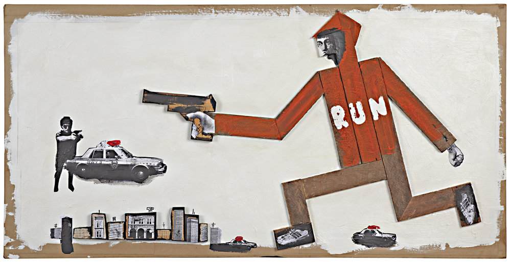 Poster for gun control features wooden figure, painted board and collage art in an effort to keep things handmade in a digital age.