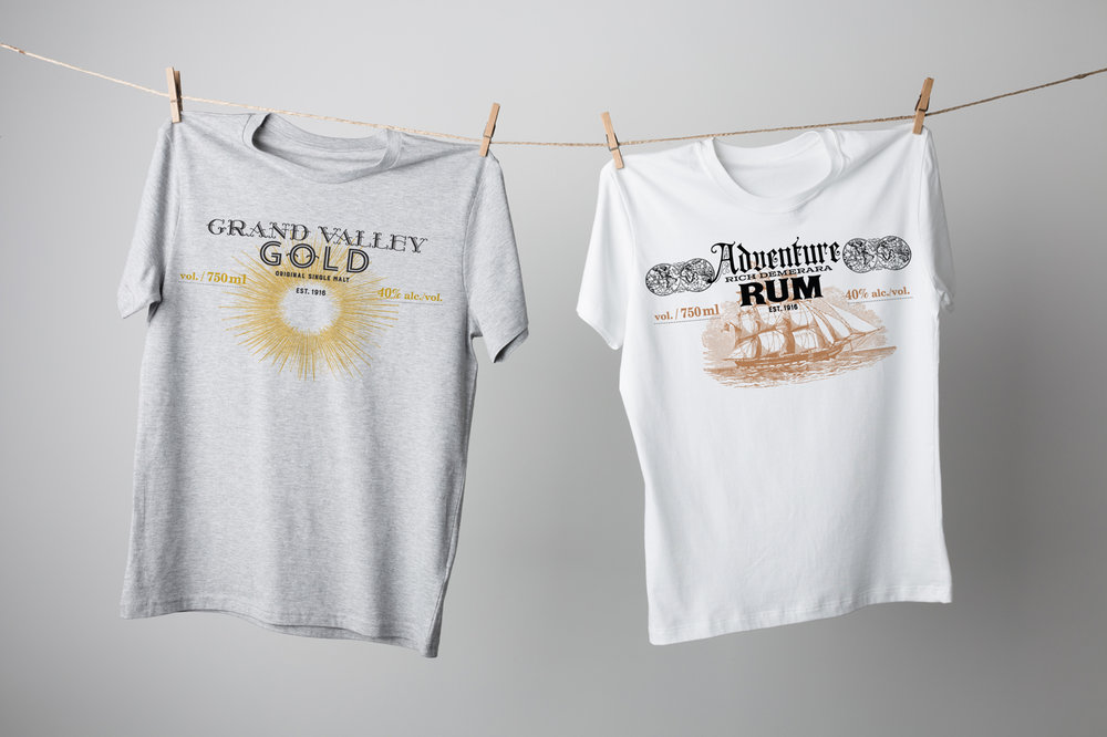 Grand Valley Gold and Adventure Rum by Grand Spirits Distillery cotton t-shirts.