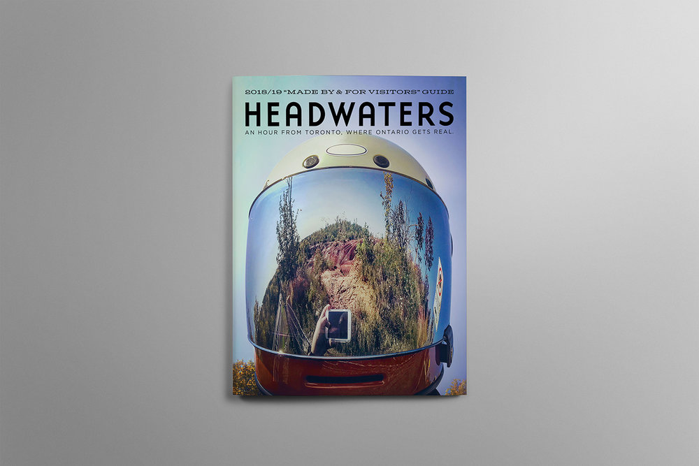 Magazine cover featuring adventure and dirt-biking for Headwaters in Ontario Canada.