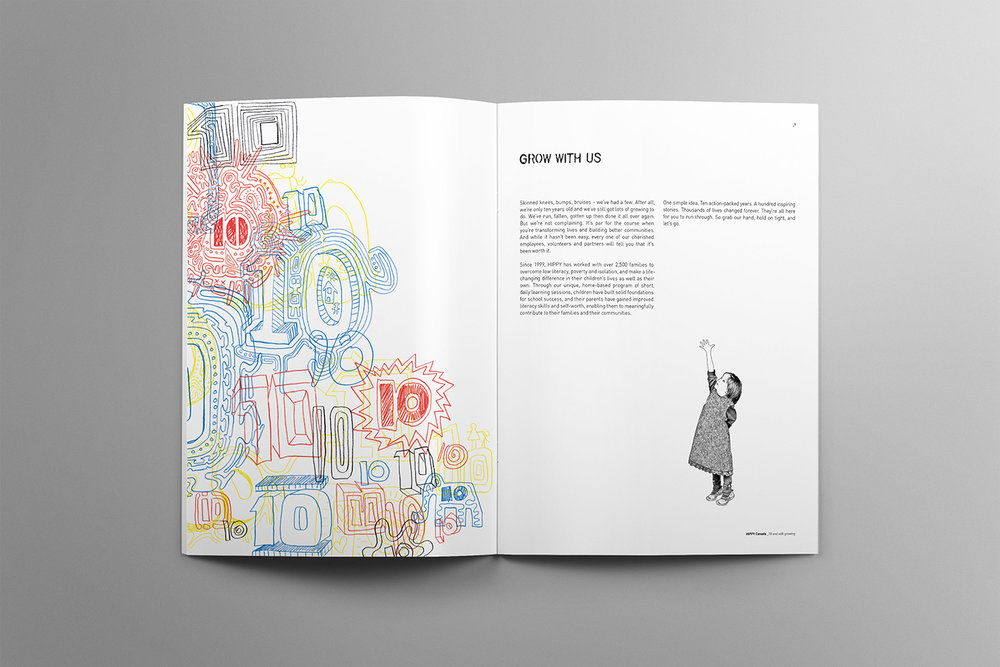 Index of Hippy Canada. Celebrating their ten year anniversary this spread features hand drawn type, primary colours and a sketch of a young girl reaching for her dreams.