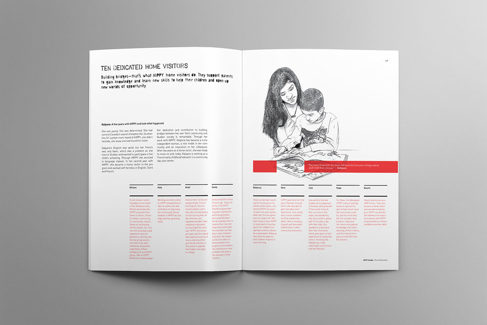 Design and illustration of a mother with her son. This spread highlights the home visitors that assist parents to teach their children skills and knowledge.
