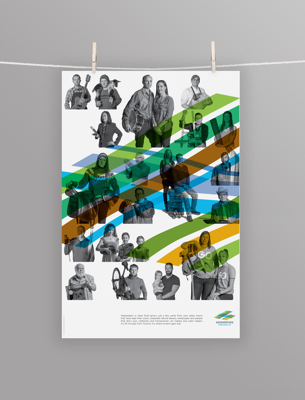 Headwaters Tourism poster showcasing the people of their region. This includes top athletes, artists, musicians, educators and chefs.