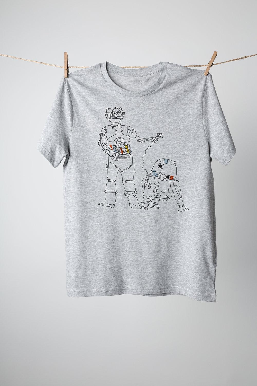 Star wars C3P0 and R2D2 karaoke shirt design