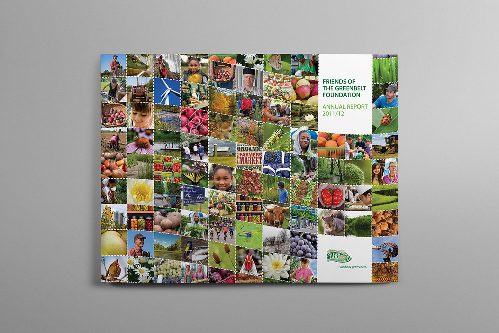 Greenbelt Foundation Annual report 2011-2012 cover features the friends of the greenbelt, highlighting on the agriculture and produce of Ontario.