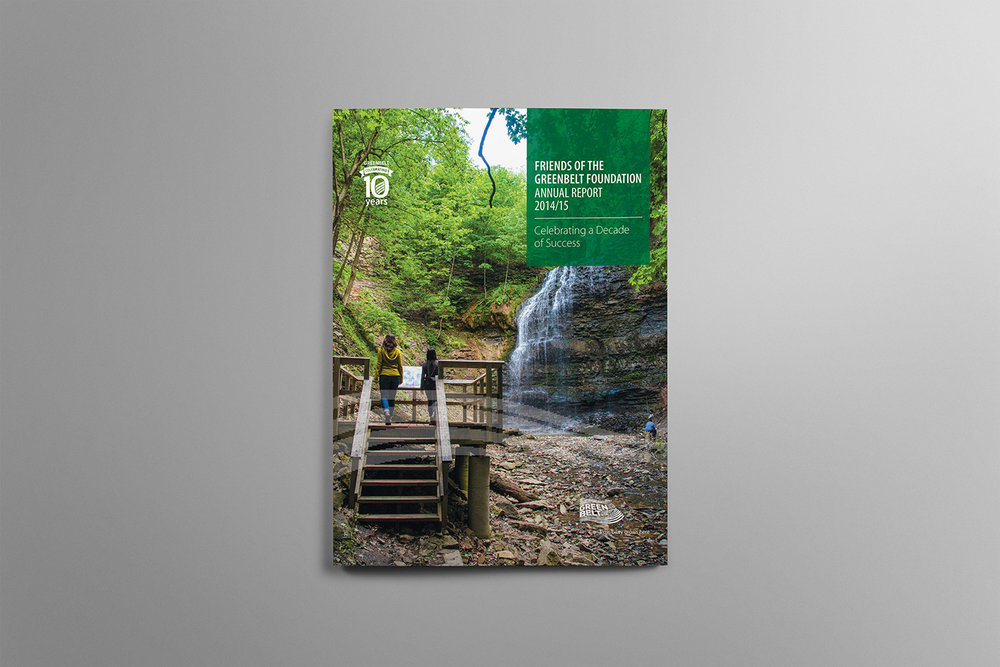 Group walks up stairs to spot an Ontario waterfall and photograph it on the cover of Friends of the Greenbelt Foundation.