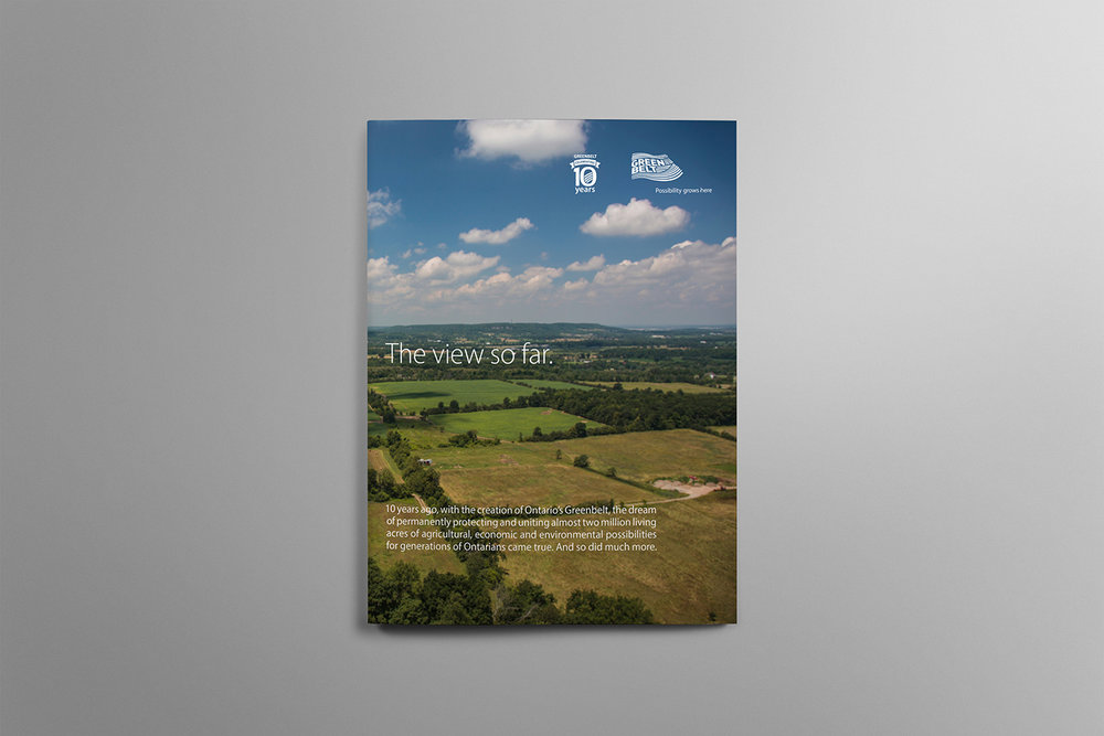 Cover of Canada's Greenbelt 10 year report looking over green Ontario farm land in the summer.