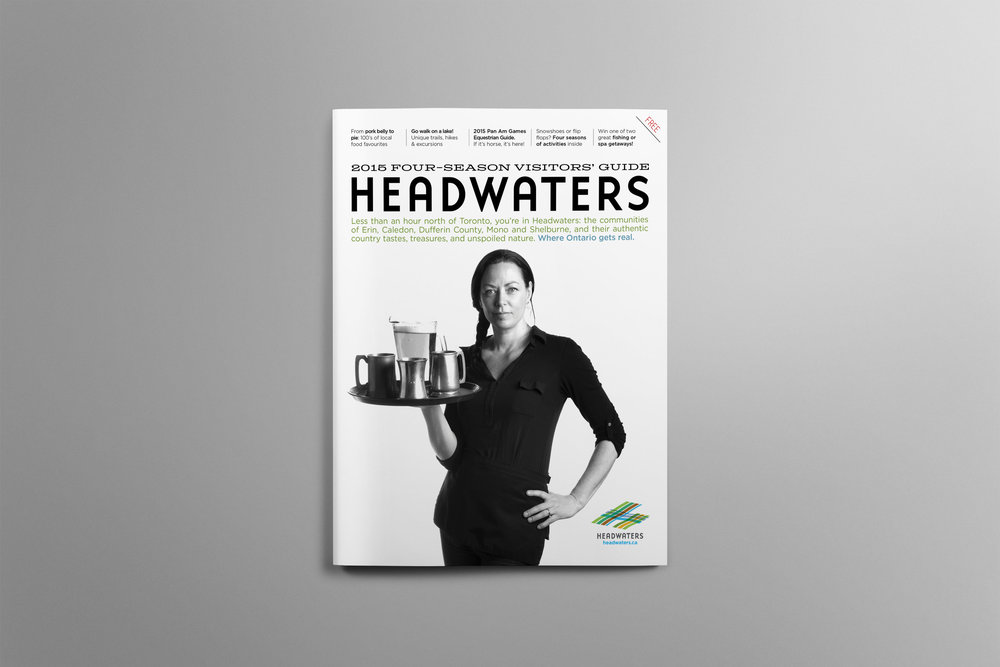 Cover of the 2015 Headwaters Visitors Guide featuring a female chef and restaurant owner.