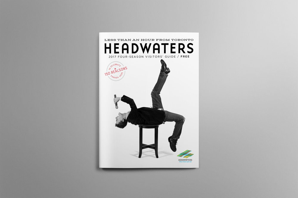 Cover of the 2017 Headwaters Visitors guide features a local musician rocking out.