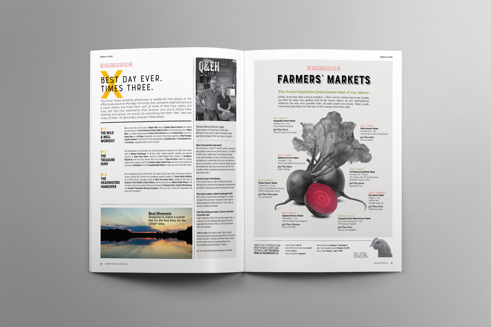 A list of farmers markets within Headwaters gives readers an inside look into where they can purchase local foods and products.