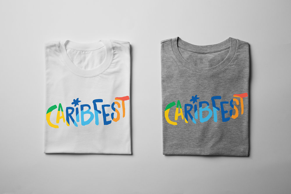 Caribfest apparel designs on basic white and grey cotton shirt. Colourful and playful typography that compliment the energy of the event itself.