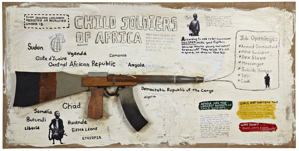 Child soldiers of Africa illustrative poster include a handmade wooden gun and real handwritten type for awareness to the issue.